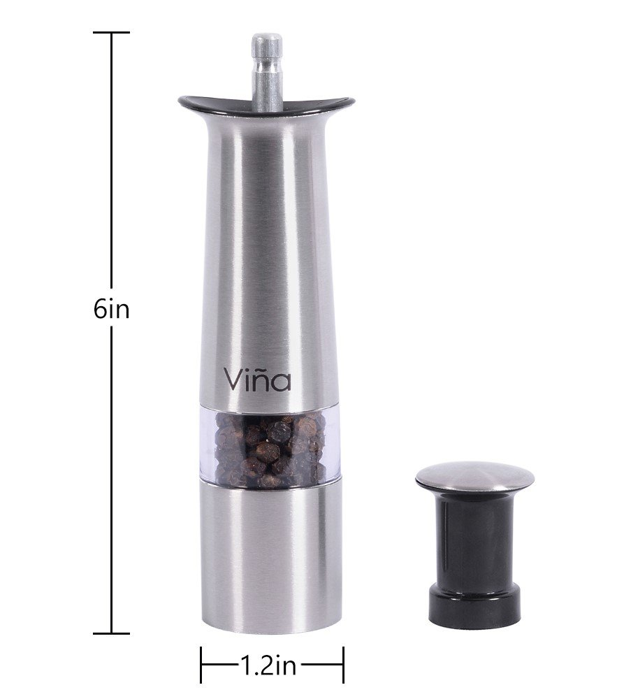 Vina Manual Salt Pepper Grinder Set with Bamboo Stand, Mini Stainless Steel Thumb Push Mills for Gourmet Home Restaurant Buffet, Pack of 2