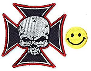 """SKULL IN CROSS"" Applique embroidered iron on PATCHES for cap, jacket, T-Shirt, jeans, backpack with Yellow Tiny Smiley Patches by PATCH CUBE"