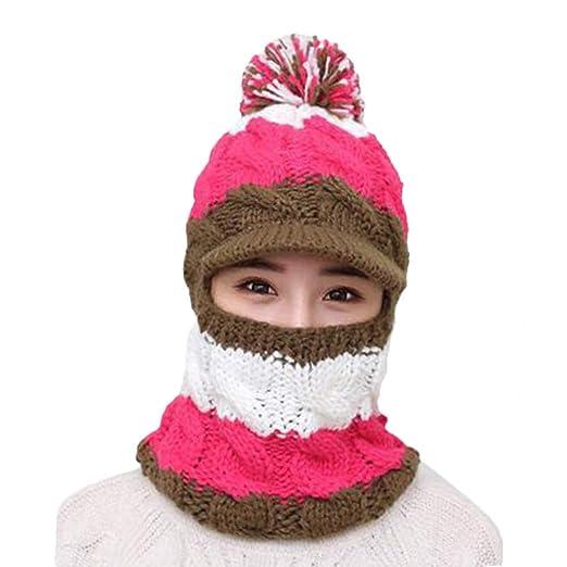 f4cedba8dfa5c1 Amazon.com: Yezijin Women Ladies Winter Hats Knit Warm Hat Conjoined Cap Hat  Set (Brown): Clothing