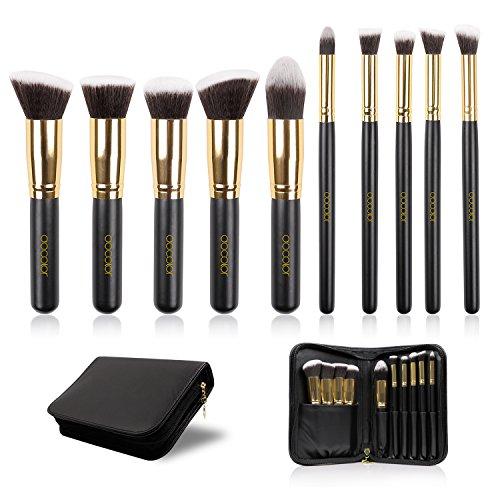 Docolor 10Pcs Makeup Brushes Set Kabuki Foundation Kits with Cases-Gloden