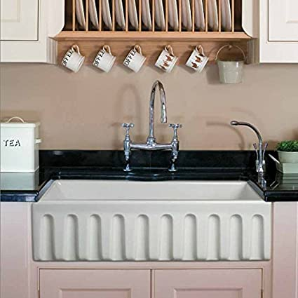 Beau Randolph Morris 36 X 18 Fluted Fireclay Apron Farmhouse Sink BCG3618FLWH  White