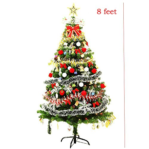 CLEARANCE Decorated Christmas tree 6' ft/7' ft/8' ft Battery Operated - Decorated with Ornaments, Snowflakes, Cones, Stars, Gift Boxes etc. (8 ft)