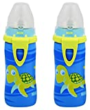 NUK Blue Turtle Silicone Spout Active Cup, 10-Ounce (2 Pack)