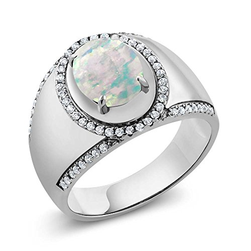 2.29 Ct Oval Cabochon White Simulated Opal 925 Sterling Silver Men's Ring