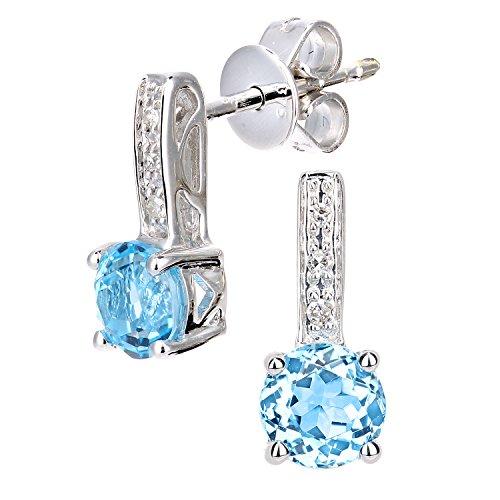 Revoni Bague en or blanc 9carats-Diamant et Topaze Bleu rond coupe-Boucles d'Oreilles Pendantes Femme -