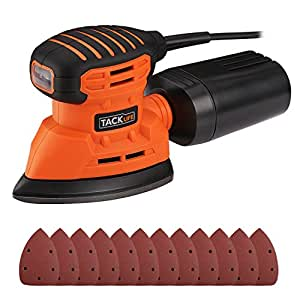 Mouse Detail Sander, Tacklife 12000OPM Sander with 12Pcs Sandpapers, 9.84Ft(3M) Long Power Cord, Dust Collection System For Tight Spaces Sanding in Home Decoration, DIY