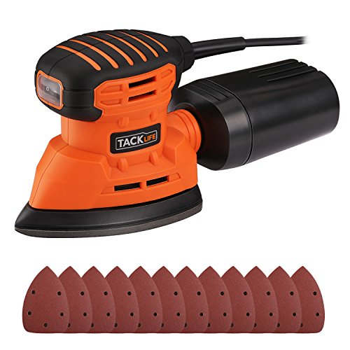 Mouse Detail Sander with 12Pcs Sanderpaper, Tacklife 12000 OPM Sander with Dust Collection System for Tight Spaces Sanding in Home Decoration, DIY - PMS01A