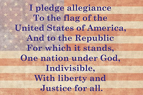 Pledge of Allegiance American Flag Poster 18x12