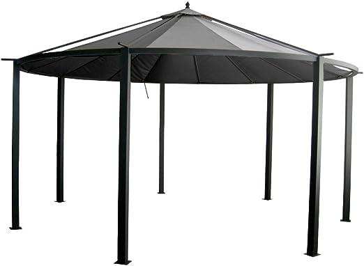 INTEROUGE Carpa de jardín, con tejado, 4,5 m de diámetro, aluminio ...