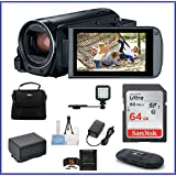 Canon VIXIA HF R800 Full HD Camcorder Bundle, includes: 64GB SDXC Memory Card, LED Light, Spare Battery and more...