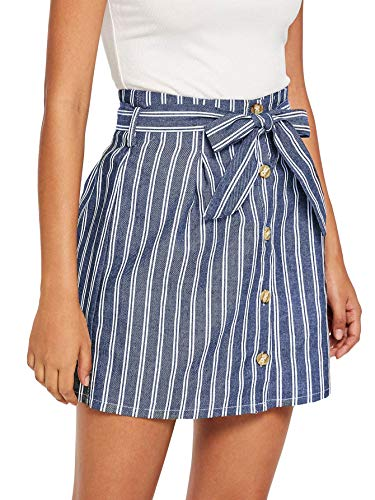 Milumia Women Single Breasted Front Belted Waist A-line Striped Skirt Blue XL