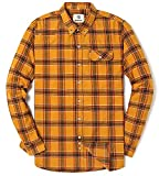 Men's Long Sleeve Flannel Plaid Checkered Button Down Casual Dress Shirts Yellow1 Medium
