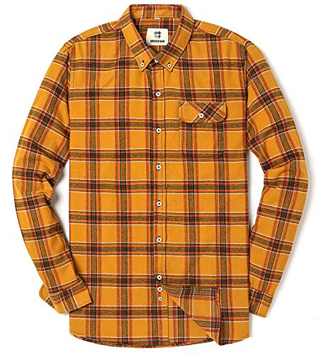 Men's Long Sleeve Flannel Plaid Checkered Button