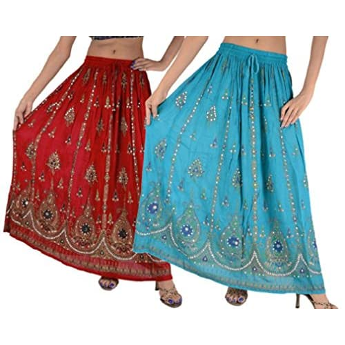Nice Flavia Creation Women's Bollywood Indian Sequin Long Skirt Rayon Combo Pack Of 2Pc