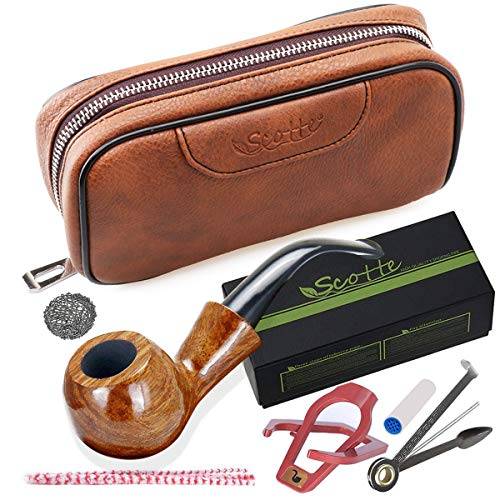 Scotte Tobacco Smoking Pipe,Leather Tobacco Pipe Pouch Pear Wood Pipe Accessories(Scraper/Stand/Filter Element/Filter Ball/Small Bag/Box)
