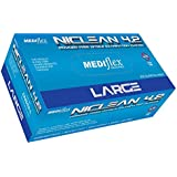 Mediflex Blue Niclean Examination Grade (TTC Free - Low Allergy) Powder Free Nitrile Gloves (200/Box) - 245mm Cuff Length, Micro Textured Fingertips, Accelerator Free, Latex Free, Non Sterile (L)