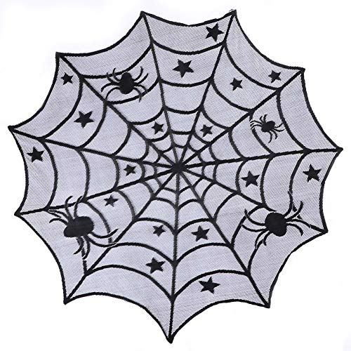 40-inch Round Lace Table Topper, Black Spider Halloween Lace Table Topper Cloth for Halloween Decorations Scary Movie Nights Party