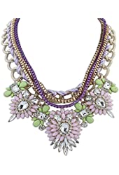 Eyourlife Christmas Hot Multi-Layers Flower Pendant Statement Chunk Collar Necklace Wedding Party