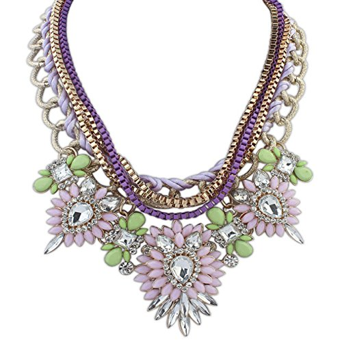 Eyourlife Christmas Hot Multi-Layers Flower Pendant Statement Chunk Collar Necklace Wedding Party (light Pink + Green)