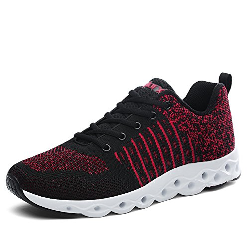 CLAMON Stylish Casual Sneakers Running Shoes Innovative Breathable Design,Best Anti - Slip Design (8.5, Black/Red)