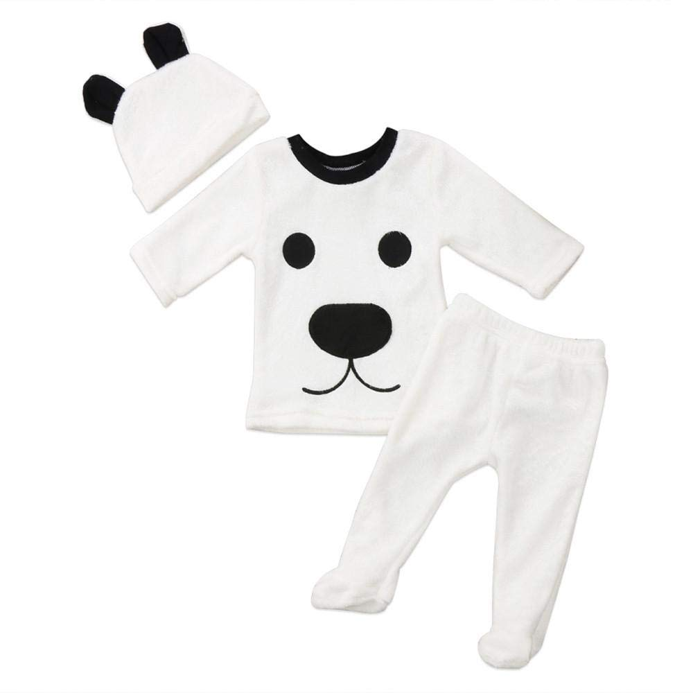 Newborn Winter Warm Sets,Jchen(TM) 3Pcs Winter Newborn Baby Girl Boy Cartoon Tops Pants Hat Outfits Fluffy Warm Clothes for 0-24 Months (Age: 18-24 Months)