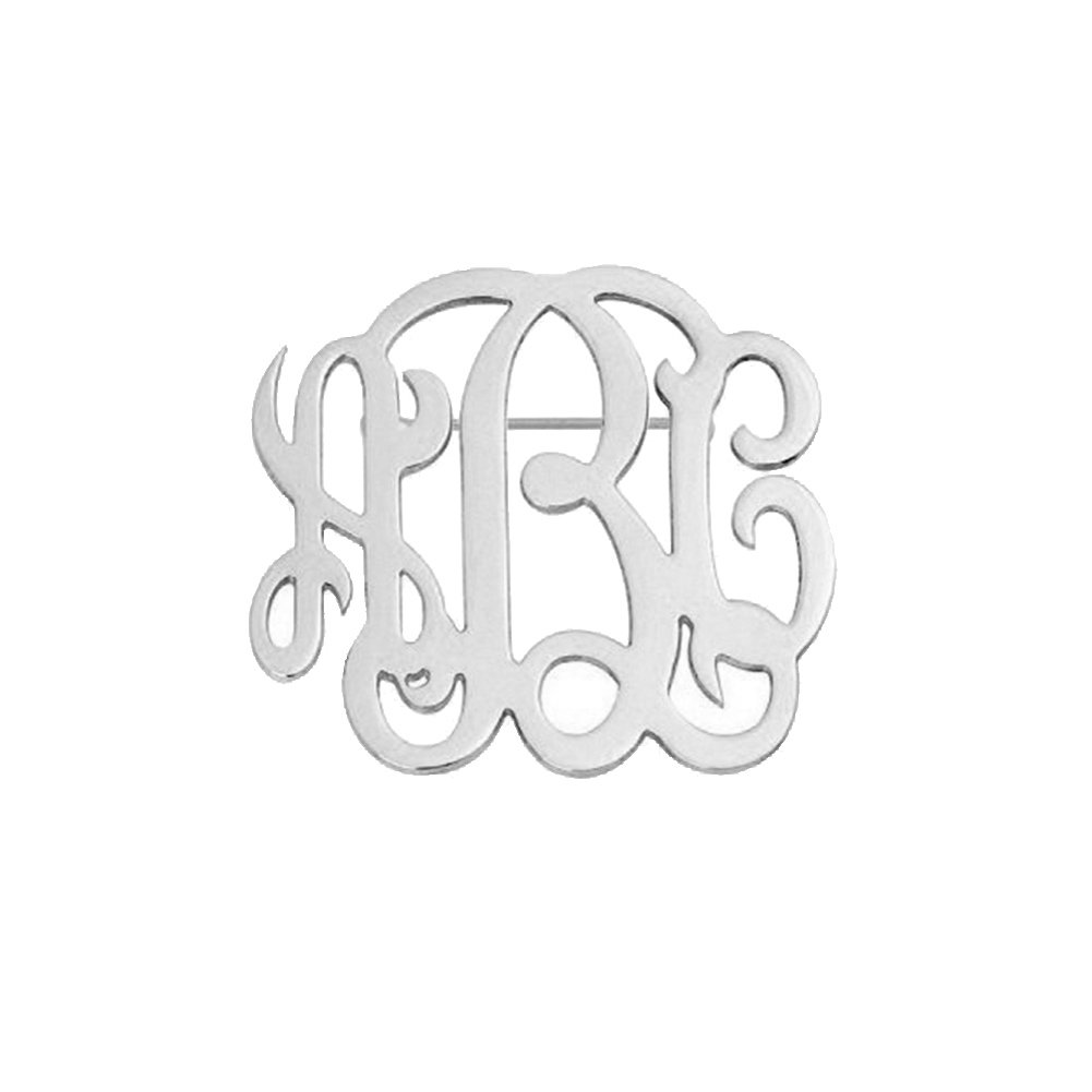 Ouslier Personalized 925 Sterling Silver Monogram Name Brooch Pin Custom Made with 3 Initials (Silver)