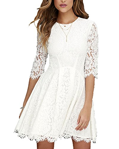 MorySong Women's Scoop Neck Half Sleeve Casual Pullover Lace Skater Party Dress XL White
