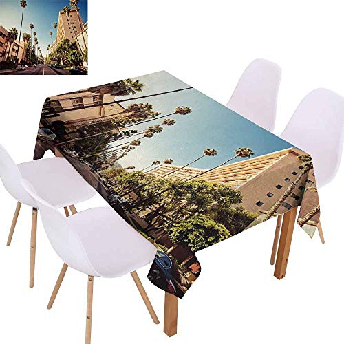 (UHOO2018 Urban,Ultra Luxurious Tablecloth,A Street in Beverly Hills California Palm Trees Houses Famous City Photo,Waterproof and Spillproof,Light Blue Peach Green,50