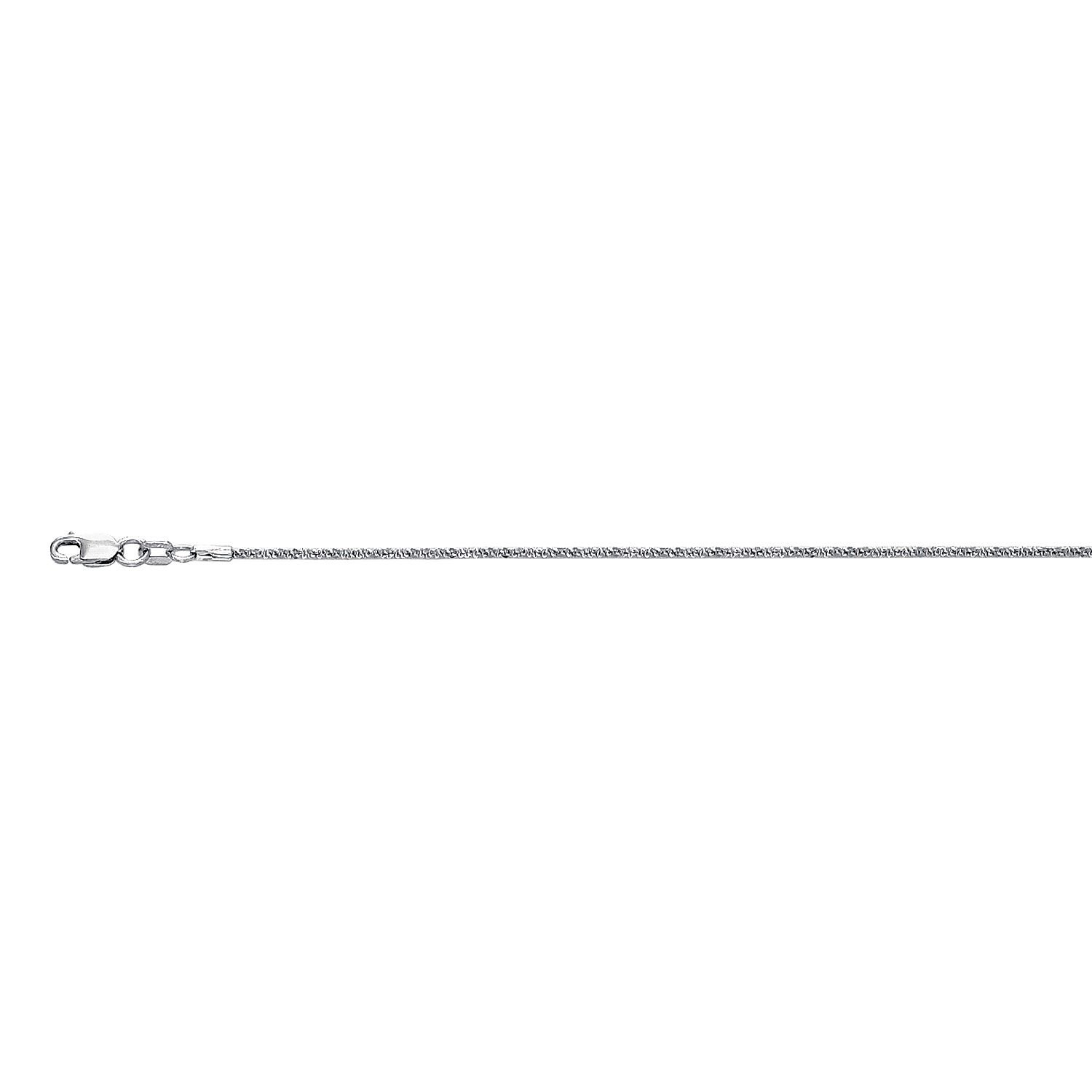 10K 20 inch long White Gold 1.5mm wide Diamond Cut Sparkle Chain with Lobster Clasp FJ-025WSC-20