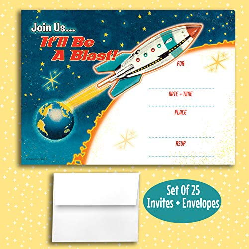 Retro Rocket Fill in Invitations, 25 Invites with Envelopes. Retro Space Age Style is Great for, Birthday, Kids Party, Anniversary, Cocktail Party, Dinner Party, Bachelorette.
