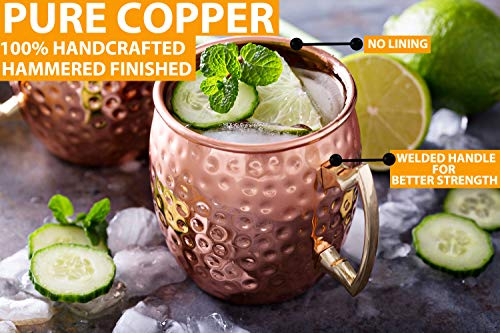 Moscow Mule Copper Mugs - Set of 4-100% HANDCRAFTED - Food Safe Pure Solid Copper Mugs - 16 oz Gift Set with BONUS: Highest Quality Cocktail Copper Straws and Jigger! (Copper) by Gold Armour (Image #1)