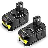 P108 5.0Ah Replace for Ryobi 18V Battery One Plus P102 P104 P105 P103 P107 P109 Ryobi ONE+ Cordless Tool 2Packs