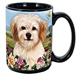 (Cavachon) Garden Party 15 Oz Black Coffee Cup Mug, Dog & Cat Pet Gift, For Extreme Animal Lovers!