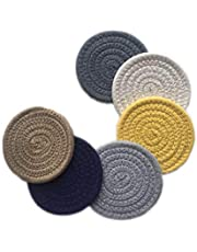 6 Pcs Drink Coasters Set Dining Braided Office Woven Coasters Living Room Cute Colorful