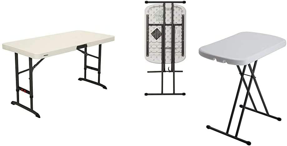 Lifetime 80387 4-Foot Commercial Adjustable Folding Table, Almond & 80251 Adjustable Folding Laptop Table TV Tray, 26 Inch, White Granite
