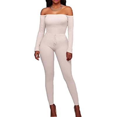 Women's Long Sleeve Off Shoulder Pure Color High Elasticity Tunic Skinny Pants Bodycon Jumpsuits Rompers