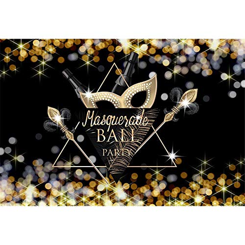 ML Black Photography Background 7x5ft Masquerade Backdrops for Pictures Gold Dots Black Swan Feather Photo Backdrop for Halloween Party Custom -