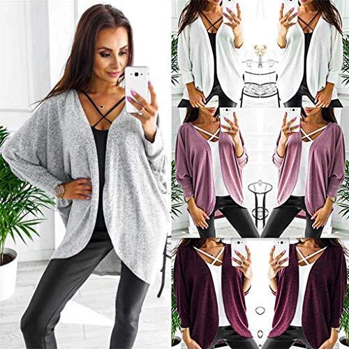 Manteau Coat Longues Bouffant Grau Printemps Mode Asymtrique Chic Blouson Irrgulier Manche Fashion Outerwear Ouvert Femme Automne Manches Dcontract BOLAWOO Elgante Uni FTaq1n