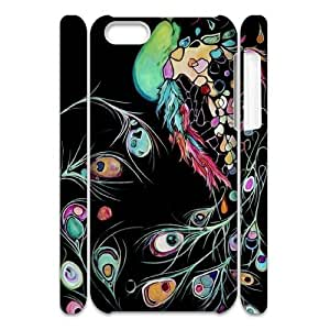 3D iPhone 5C Case, Abstract Watercolor Hard Case For iPhone 5C(White) Yearinspace062212