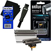 Braun Combi 31S Foil & Cutter Replacement Set (Silver) for Select Series 3, Contour, Flex XP, Flex integral (5000/6000) Shavers + Double Ended Shaver Brush + HeroFiber Ultra Gentle Cleaning Cloth