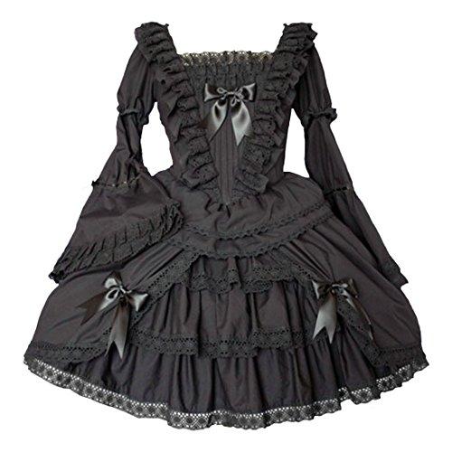 Partiss Lolita Kleid Damen Cocktailkleid Kleid Kleid Schwarz Kleid Elegantes Teeparty lange Aermel Traditionelles qZCwqT