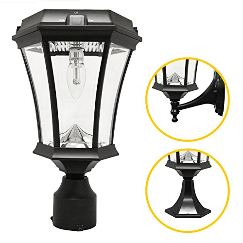 Gama Sonic GS-94B-FPW Victorian Bulb Lamp Outdoor Solar Light Fixture, Pole Pier & Wall Mount Kits Only, Black Finish