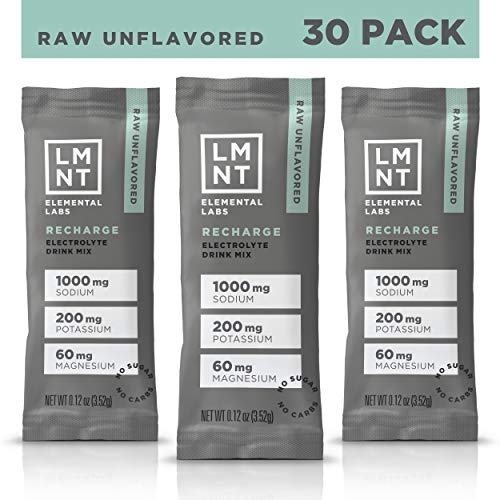 LMNT Recharge Electrolyte Hydration Powder | Formulated by Robb Wolf and Ketogains | Keto & Paleo | No Sugar, No Artificial Ingredients | Raw Unflavored | 30 Stick Packs