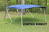 NAVY BLUE SQUARE TUBE FRAME VORTEX 4 BOW PONTOON/DECK BOAT BIMINI TOP 8' LONG, 91-96'' WIDE (FAST SHIPPING - 1 TO 4 BUSINESS DAY DELIVERY)