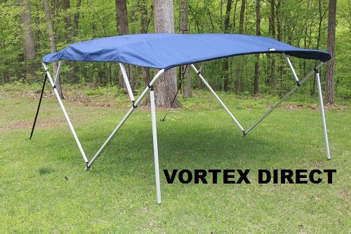 NAVY BLUE SQUARE TUBE FRAME VORTEX 4 BOW PONTOON/DECK BOAT BIMINI TOP 8' LONG, 97-103