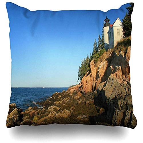 Throw Pillow Cover Square 18x18 Trees Maine Bass Harbor Light House Low Tide Lobster Nature Atlantic Clouds Coast Head Zippered Cushion Case Home Decor Covers