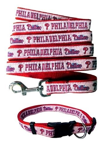 Philadelphia Phillies Nylon Collar and Matching Leash for Pets (MLB Official by Pets First) Size Large