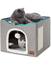Bedsure Cat Beds for Indoor Cats - Large Cat Cave for Pet Cat House with Fluffy Ball Hanging and Scratch Pad, Foldable Cat Hidewawy,16.5x16.5x14 inches