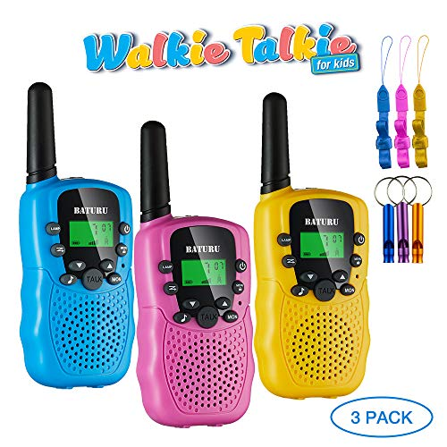 BATURU Walkie Talkies for Kids 3 Pack, 2 Way Radio Toy Walkie Talkie, 3 4 5 6 7 8 9 Year Old Toy Boys and Girls, Walky Talky Long Range (Blue+Pink+Yellow)