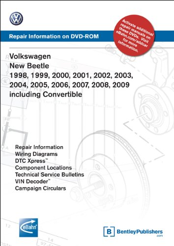 Volkswagen New Beetle 1998, 1999, 2000, 2001, 2002, 2003, 2004, 2005, 2006, 2007, 2008, 2009 including Convertible: Repair Manual on DVD-ROM (Windows 2000/XP) -